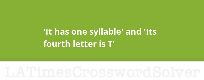 it has one syllable and its fourth letter is t crossword clue