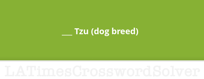 Tzu Dog Breed Crossword Clue